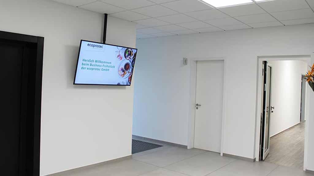 Einladung Eingang ecoprotec Bildschirm Business-Frühstück 2019