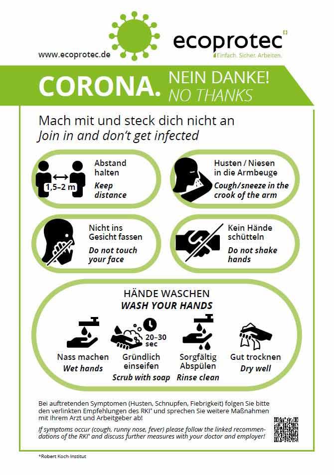 Schutzmaßnahmen Betrieb Unternehmen Corona Empfehlungen Sicherheit ecoprotec GmbH